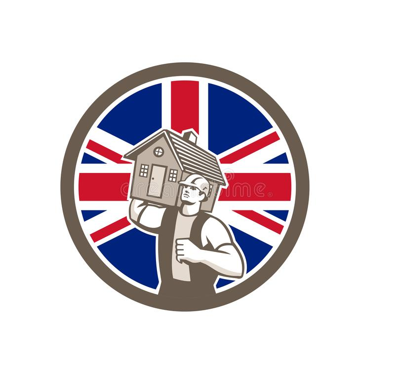 Великобританский значок флага Юниона Джек удаления дома иллюстрация штока