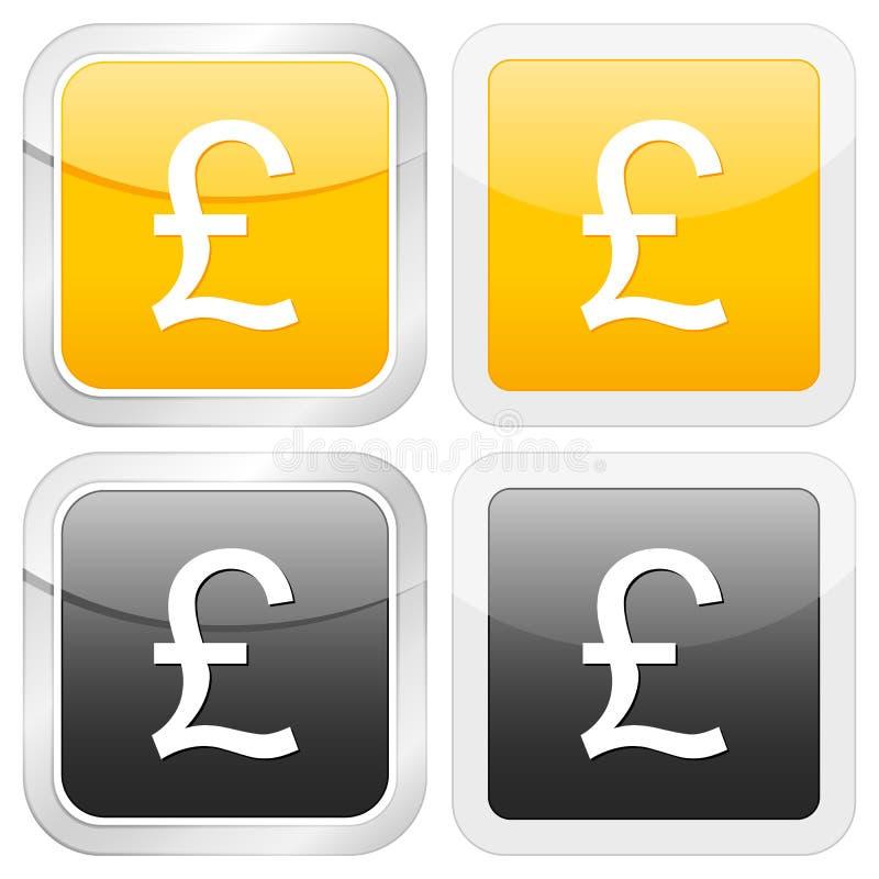великобританский квадрат фунта иконы иллюстрация штока