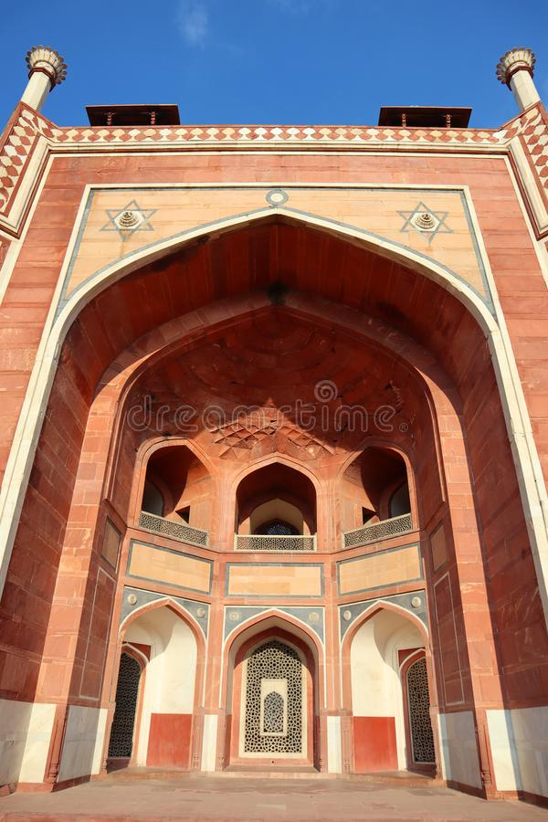 Великолепие усыпальницы исторического Humayun памятника на Нью-Дели - изображение стоковые изображения