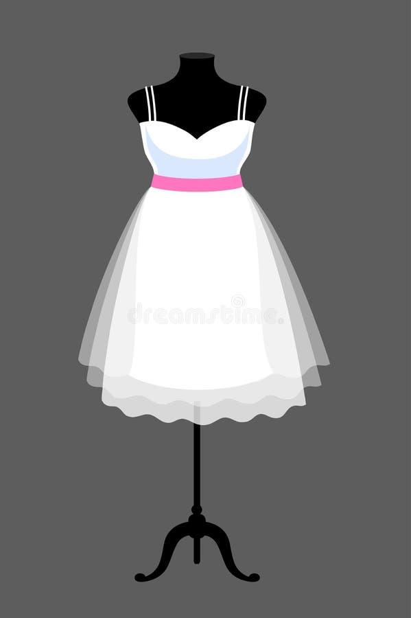 Великолепное белое платье свадьбы на манекене бесплатная иллюстрация