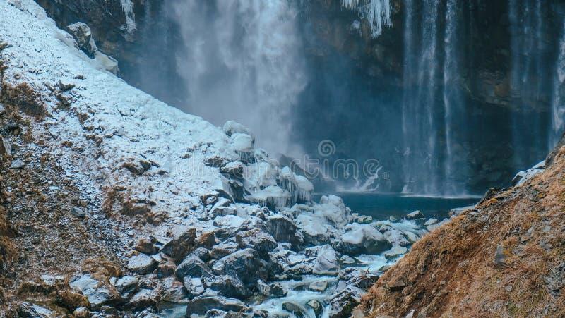 Великолепное Taki в nikko на зиме Настолько впечатляющий стоковое фото