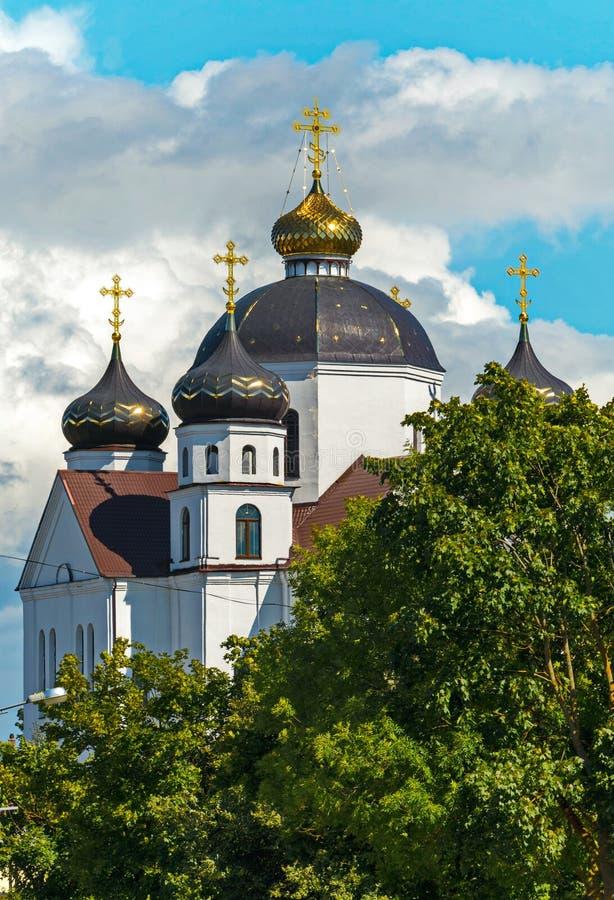 Величественная церковь с белыми стенами и большими куполами при золотые кресты сверкая в солнце, стоя среди зеленых деревьев стоковые изображения rf
