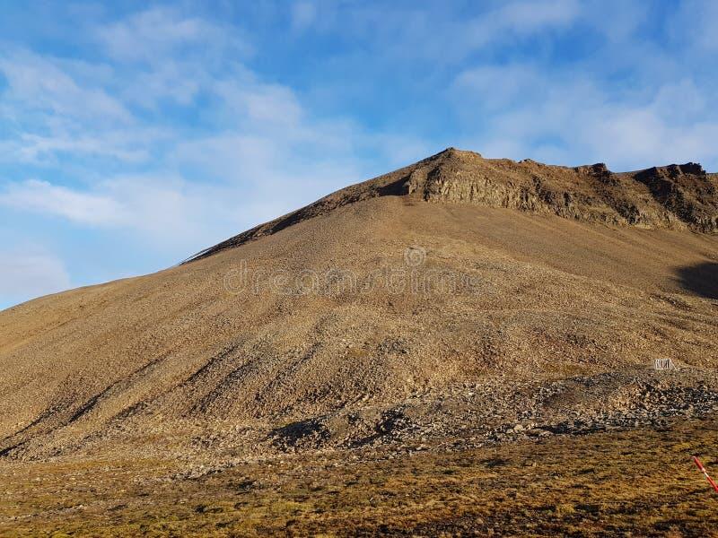 Величественный и мечтательный ландшафт горы на Свальбарде стоковые изображения rf