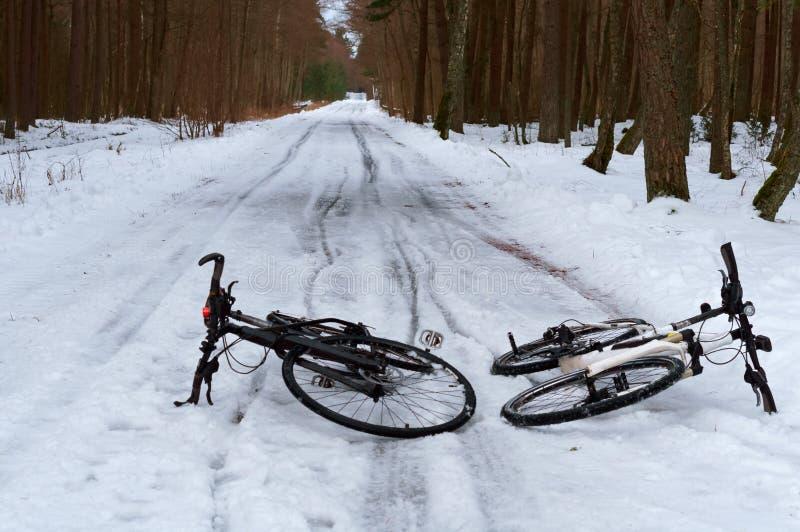 2 велосипеда в лесе в зиме, 2 велосипеда в снеге стоковое фото rf