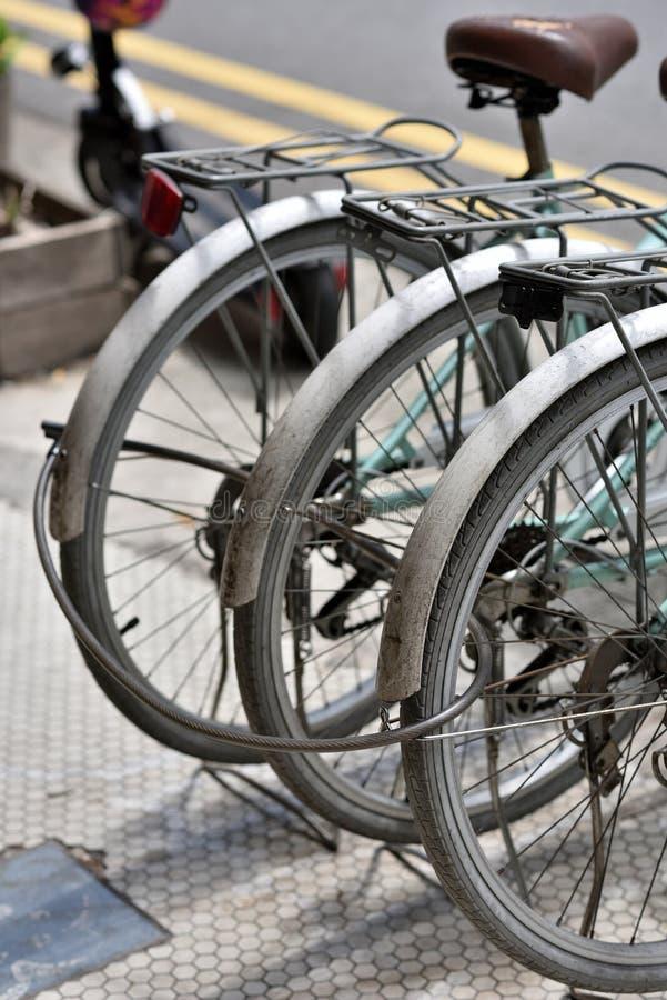 3 велосипеда утомляя совместно на пути ноги Сингапура стоковое изображение rf