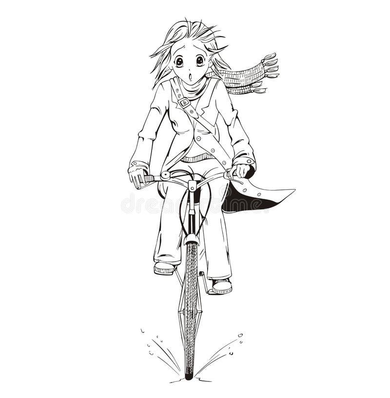 Велосипедист девушки Anime иллюстрация штока