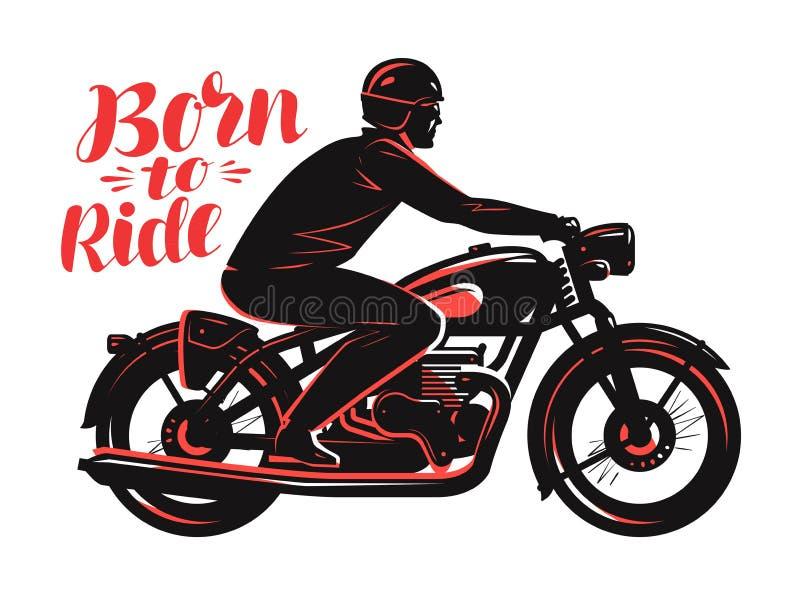 Велосипедист ехать мотоцикл, винтажный стиль Принесенный для того чтобы ехать вектор, иллюстрация вектора оформления иллюстрация штока