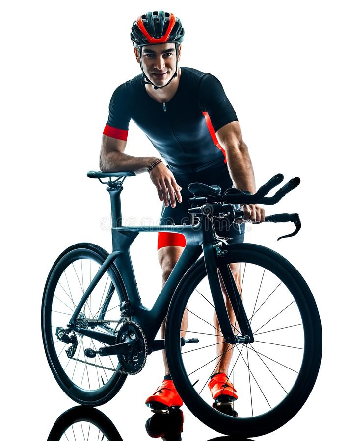 Велосипедист задействуя b триатлона Triathlete изолированный силуэтом белый стоковые фото