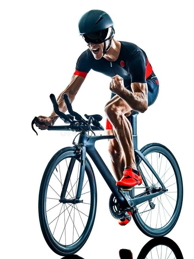 Велосипедист задействуя b триатлона Triathlete изолированный силуэтом белый стоковая фотография