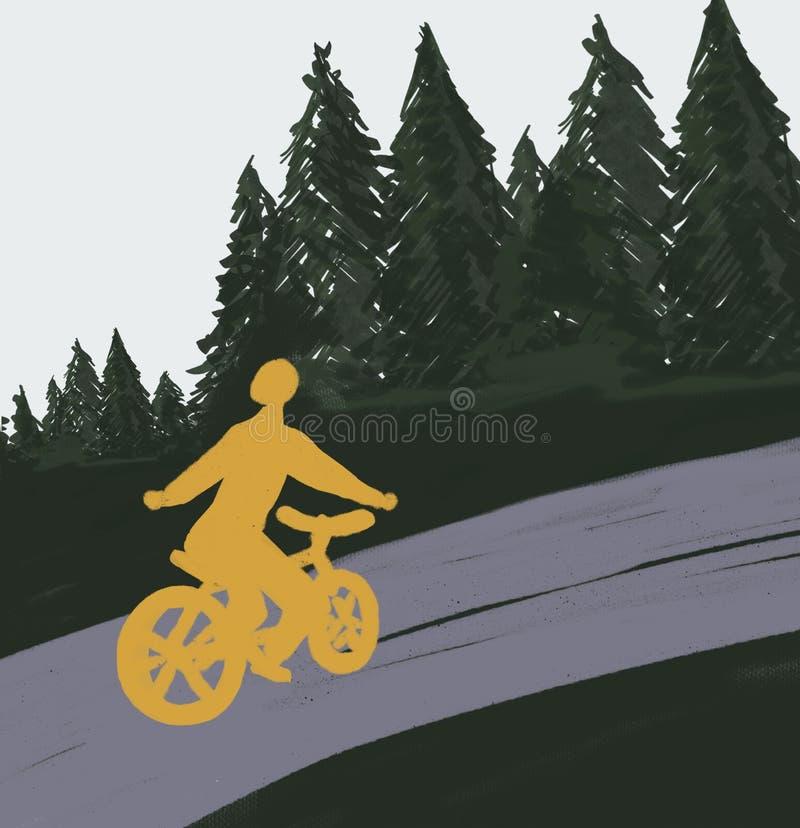 Велосипедист на дороге в лесе бесплатная иллюстрация