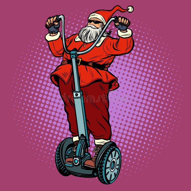 Велосипедист Санта Клауса с подарками рождества едет электрический самокат иллюстрация вектора