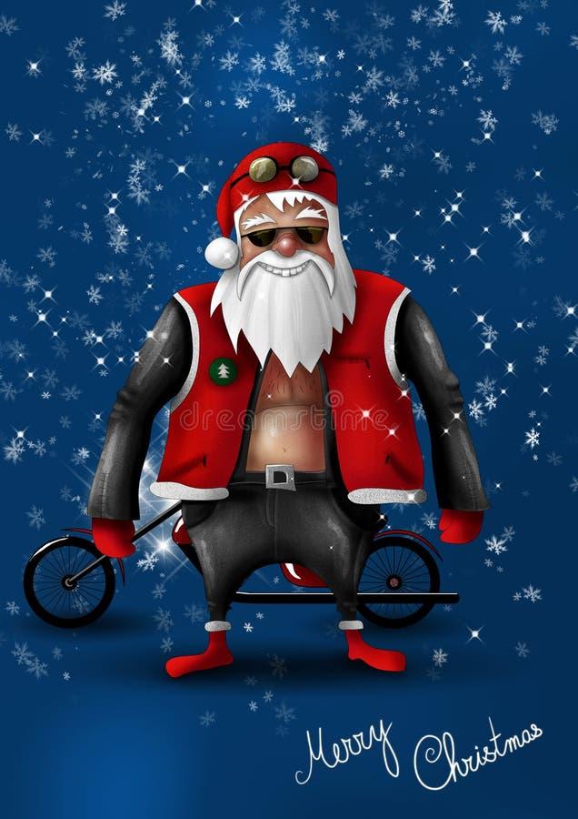 велосипедист claus santa иллюстрация вектора