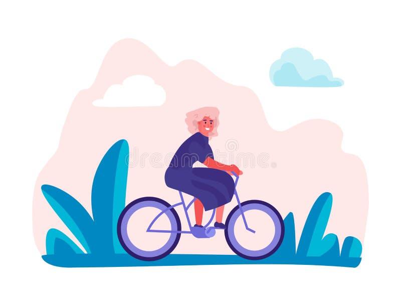 Велосипеды женщины ехать в парке Женское отключение праздника, ультрамодные персонажи из мультфильма наслаждения делая activitie  иллюстрация штока