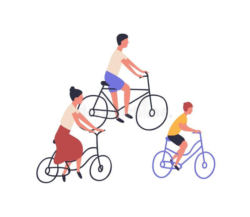 Велосипеды счастливой семьи ехать Мама, папа и ребенок на велосипедах изолированных на белой предпосылке Родители и сын задейству иллюстрация вектора