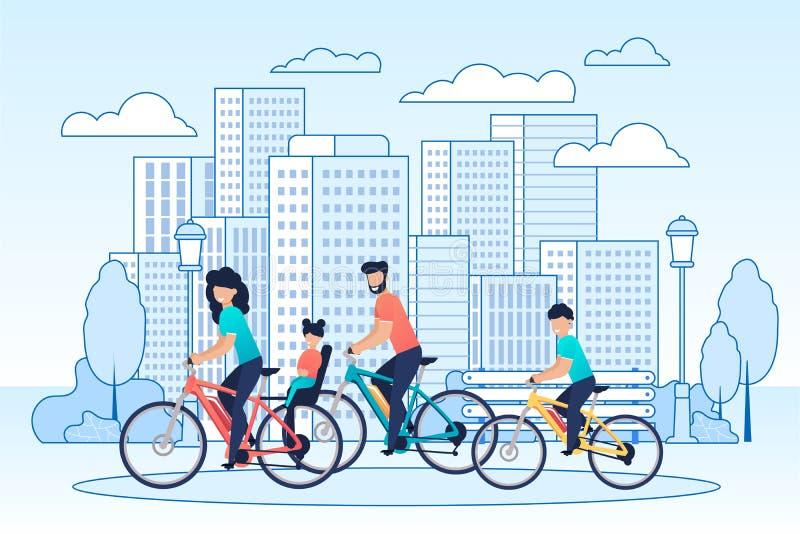 Велосипеды счастливой семьи ехать на мультфильме городского пейзажа иллюстрация вектора