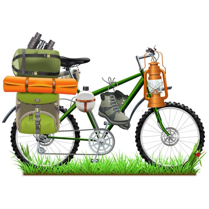 Велосипед вектора располагаясь лагерем иллюстрация вектора