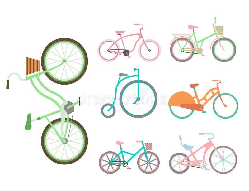 Велосипед винтажного стиля велосипедов вектора старый иллюстрация штока