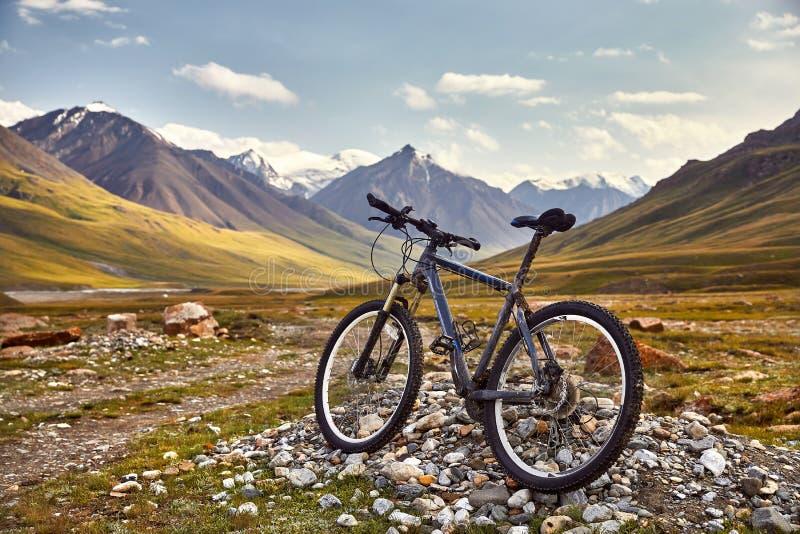 Велосипед горы в горе стоковое фото