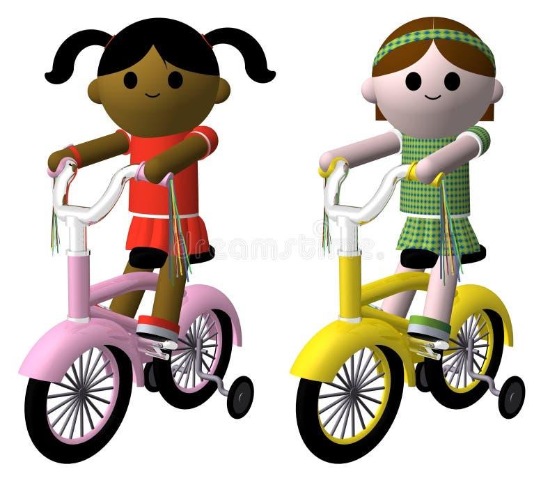 велосипед девушки иллюстрация штока