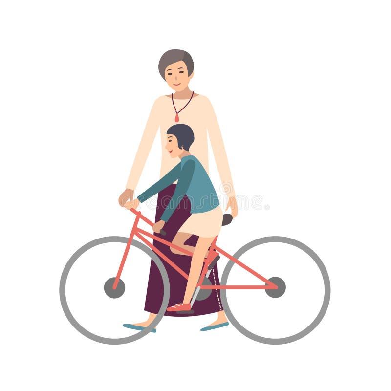 Велосипед езды дочери мамы уча Маленькой девочке матери показывающ как pedal велосипед Родитель и ребенок тратя время иллюстрация вектора