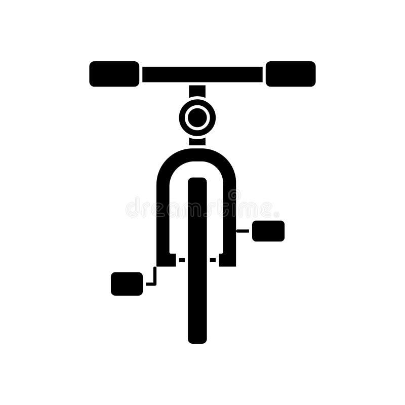 Велосипед значок вид спереди, иллюстрация вектора, черный знак на изолированной предпосылке бесплатная иллюстрация