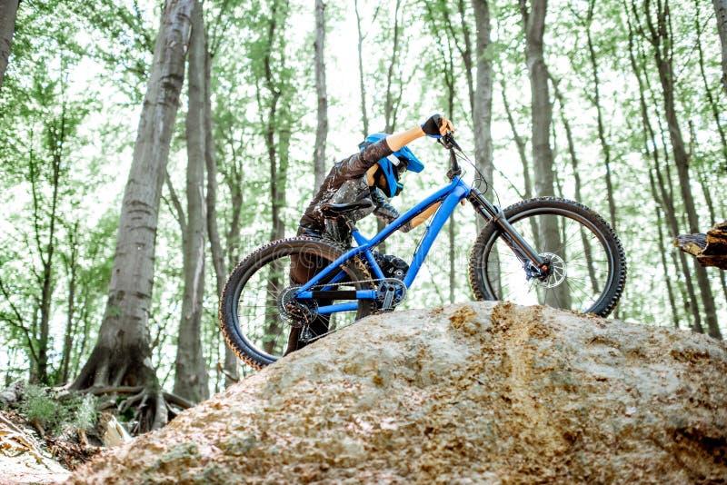Велосипед нося велосипедиста пока едущ весьма в лесе стоковые изображения