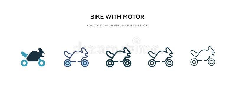 Велосипед с мотором, значок интерфейса ios 7 в различных стилях векторной иллюстрации два цветного и черного велосипеда с мотором иллюстрация вектора