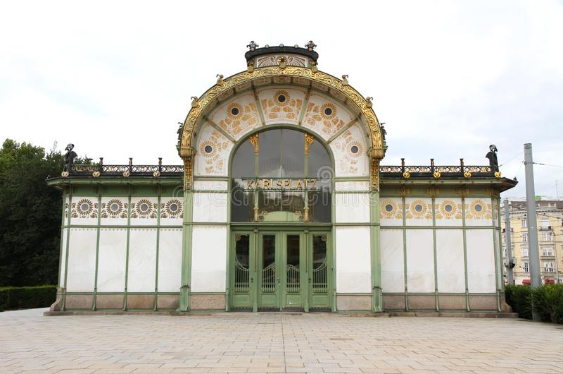 Вена, Австрия - 26-ое августа 2014: Станция Karlsplatz Stadtbahn стоковая фотография