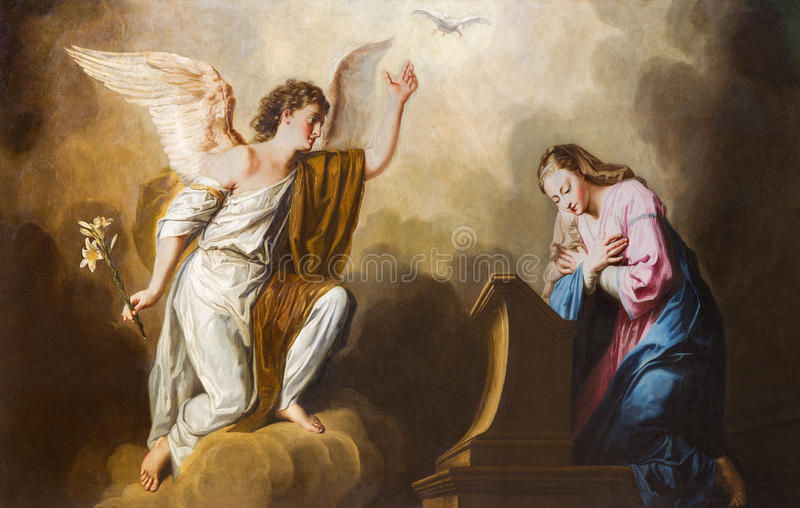 Вена - краска аннунциации в пресвитерие церков Salesianerkirche Giovanni Антонио Pellegrini (1725-1727) стоковое фото