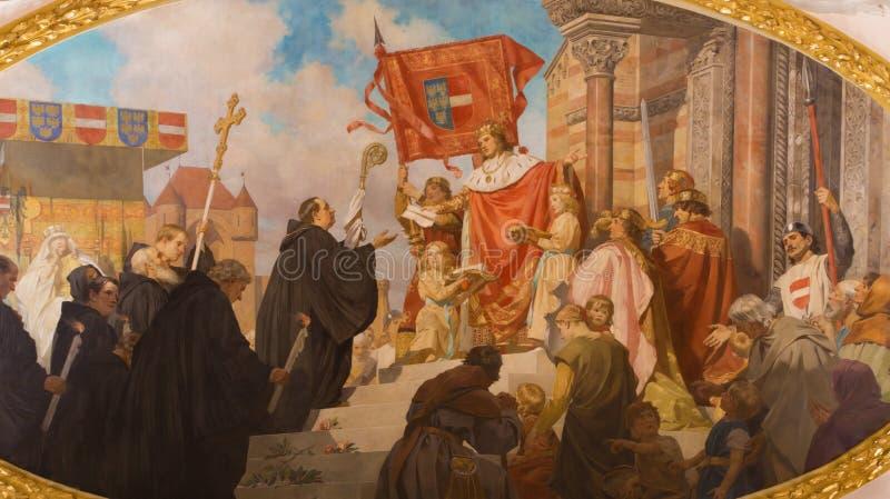 Вена - краска Benedictines для короля от вестибюля церков Schottenkirche стоковые изображения