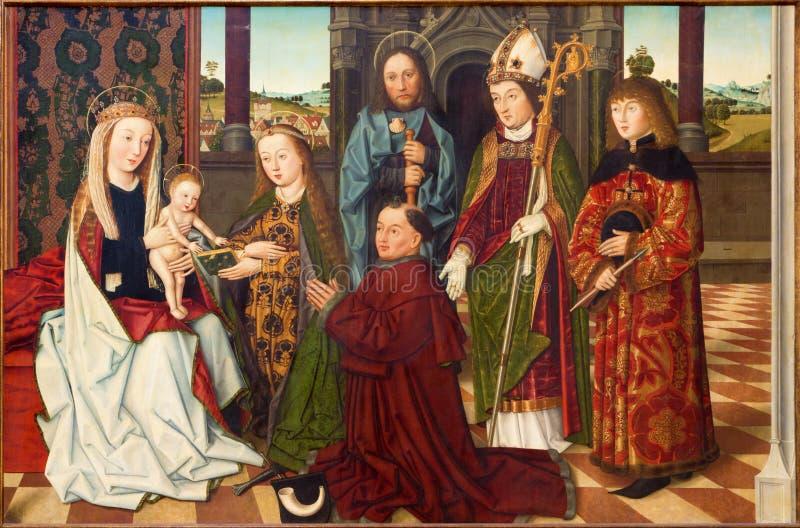 Вена - средневековая краска от года 1462 в готской церков Марии am Gestade стоковое изображение