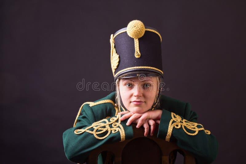 Венгерская женщина hussar стоковые фотографии rf