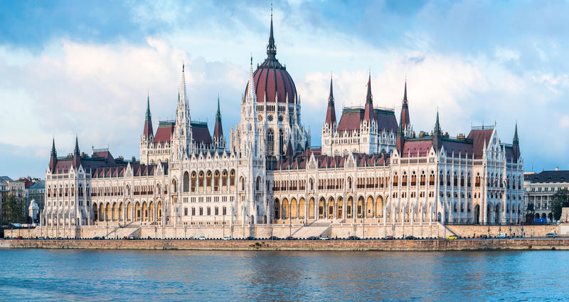 Венгерская панорама здания парламента стоковые фото