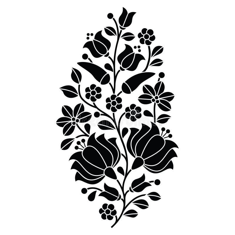 Венгерская черная фольклорная картина - вышивка Kalocsai с цветками и паприкой бесплатная иллюстрация