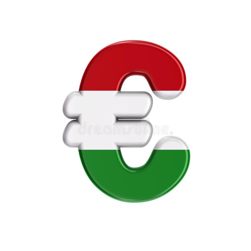 Венгерский знак валюты евро - флаг дела 3d символа Венгрии - Будапешт, Центральная Европа или концепция политики иллюстрация вектора