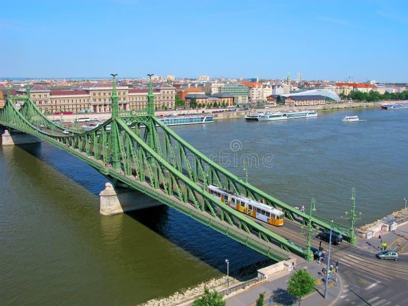Венгрия, Будапешт, мост свободы, взгляд сверху стоковое изображение