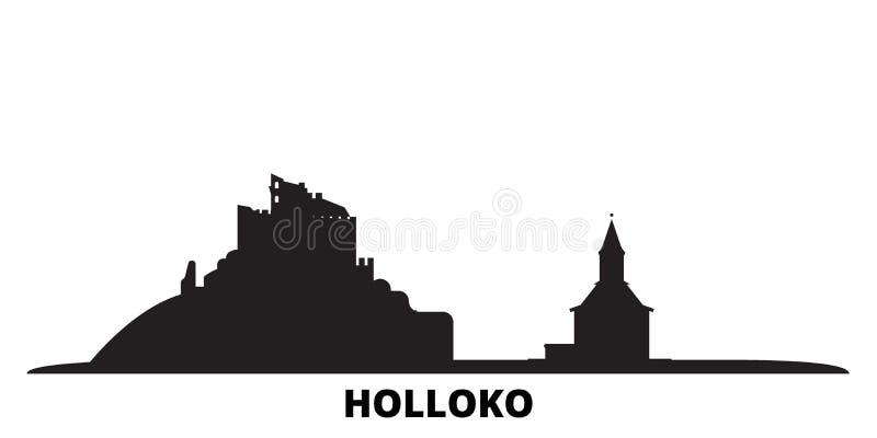 Венгрия, Голлоко, Старо-Вилладж-сити, изолированные векторные иллюстрации Венгрия, Голлоко, Старая Деревня путешествуют черными иллюстрация вектора