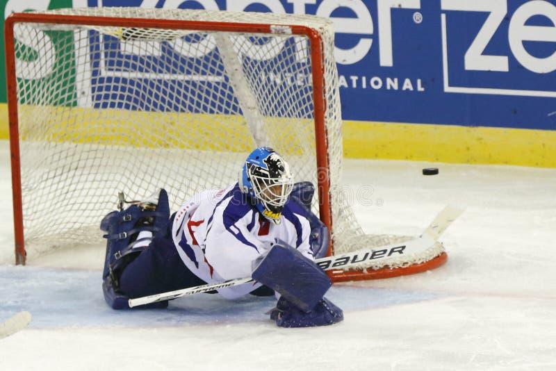 Венгрия против спички хоккея на льде чемпионата мира Кореи IIHF стоковое изображение