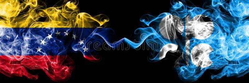 Венесуэла против флагов ОПЕК закоптелых мистических установила сторону - - сторона Толстые покрашенные шелковистые флаги дыма Вен иллюстрация штока