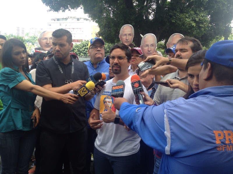 Венесуэльские протесты Freddy Guevara конгрессмена в Венесуэле стоковое фото rf