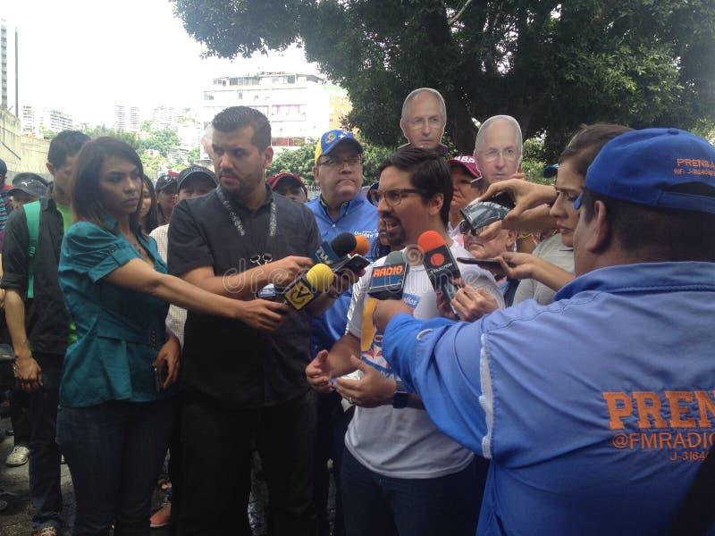 Венесуэльские протесты Freddy Guevara конгрессмена в Венесуэле стоковая фотография