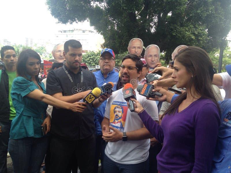 Венесуэльские протесты Freddy Guevara конгрессмена в Венесуэле стоковые фото