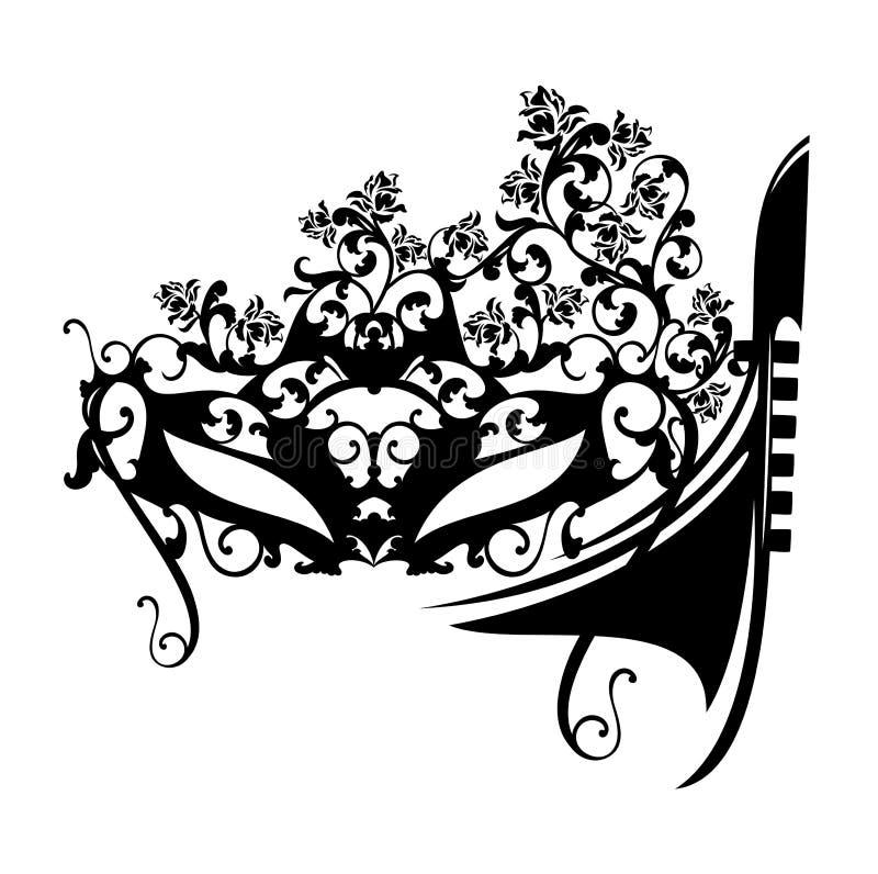 Венецианские маска масленицы и вектор шлюпки гондолы иллюстрация штока