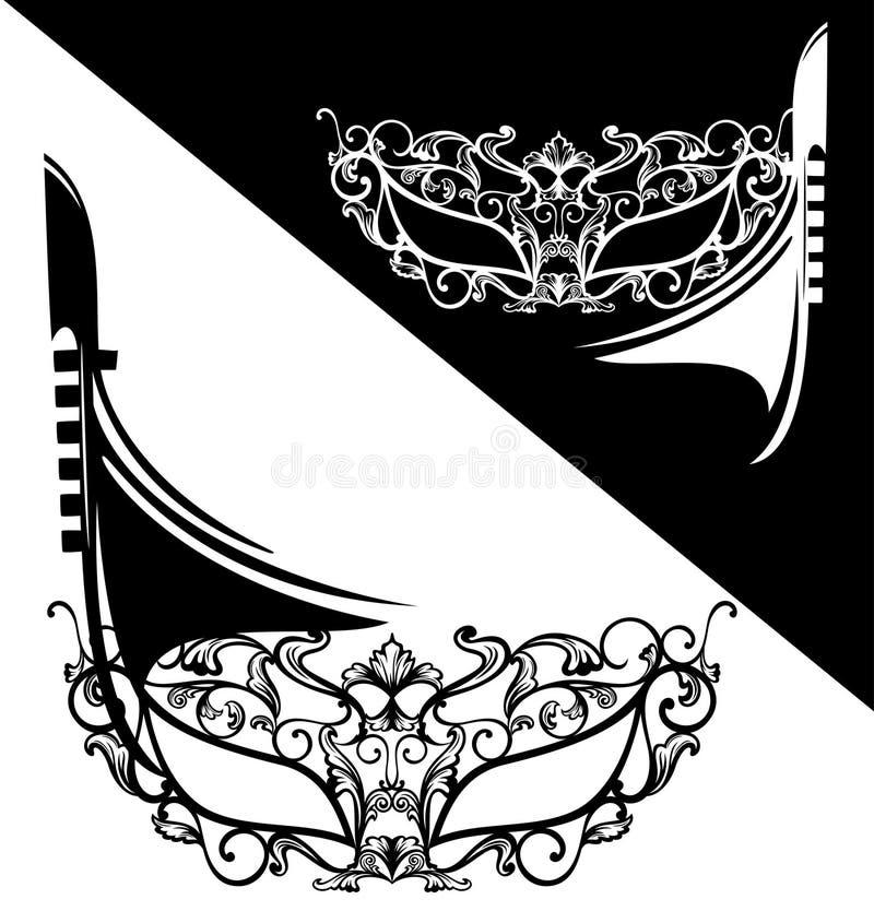 Венецианские маска масленицы и дизайн вектора шлюпки гондолы иллюстрация штока
