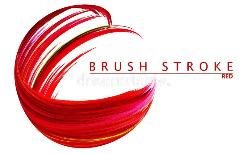 Венецианский красный brushstroke на белизне Красочная свирль бесплатная иллюстрация