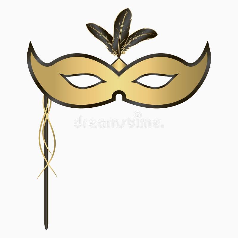 Венецианский лицевой щиток гермошлема масленицы с пер и ручкой Украшение для партии masquerade вектор иллюстрация штока