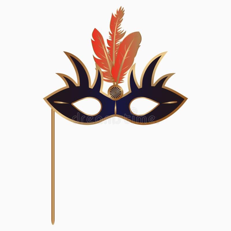 Венецианский лицевой щиток гермошлема масленицы с пер и ручкой Аксессуар украшения для партии masquerade вектор иллюстрация вектора