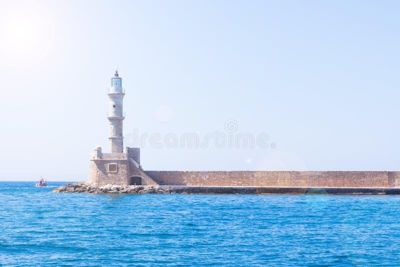Венецианский маяк на входе гавани, Chania, Крит, Греция, Европа стоковые фото