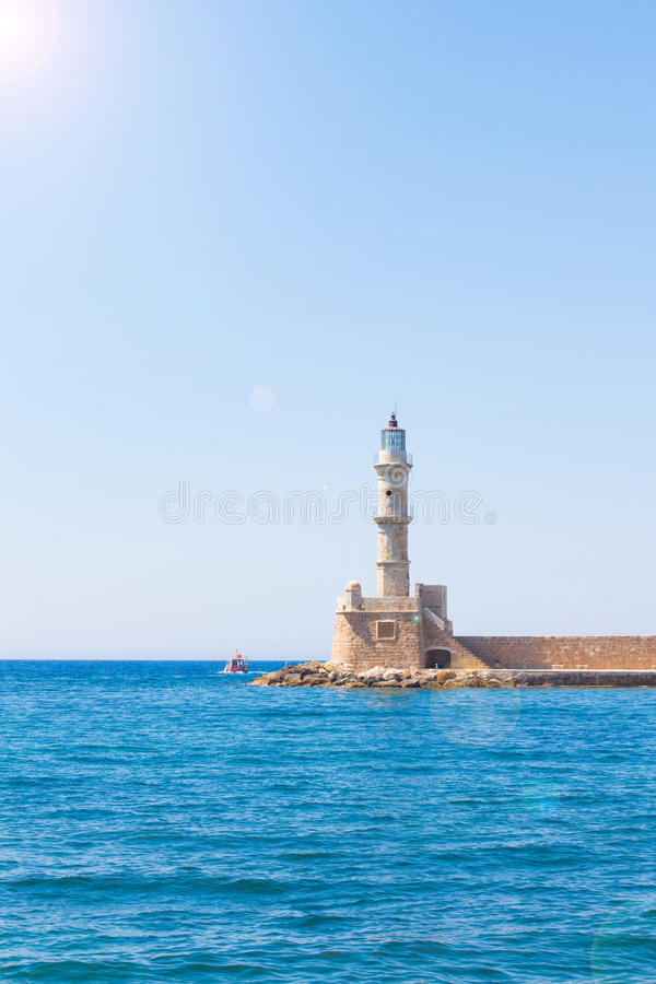 Венецианский маяк на входе гавани, Chania, Крит, Греция, Европа стоковые изображения