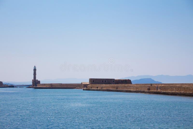 Венецианский маяк на входе гавани, Chania, Крит, Греция, Европа стоковая фотография